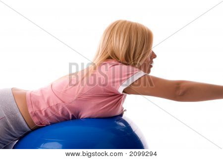 Fitness Pose By Attractive Blond Girl