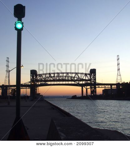 Green Light At Lift Bridge