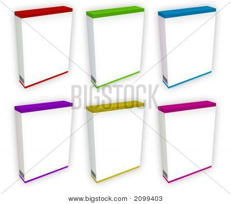 6 Colored 3D E-Boxes
