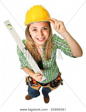 fine image of young female worker with spirit level