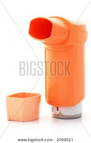 Orange Asthma Inhaler And Hood