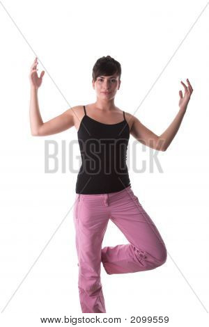 Yoga Pose In Standing Position By Young Model