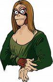stock photo of mona lisa  - Cartoon Mona Lisa as an ape - JPG