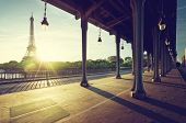 Eiffel Tower from Bir-Hakeim metal bridge in the morning, Paris, France poster