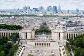 Aerial view of Trocadero , the Palais de Chaillot and the business district of La Defense in Paris poster