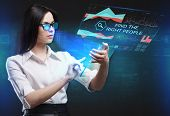 Постер, плакат: The Concept Of Business Technology The Internet And The Network A Young Entrepreneur Working On A