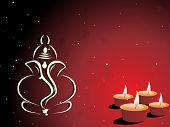 stock photo of ganpati  - maroon background with set of diya - JPG