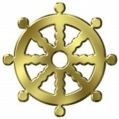 stock photo of shakti  - 3D Golden Buddhism Symbol Wheel Of Life - JPG