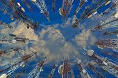 Antenna Of Cellular Cell Phone And Communication System Tower With Cloud On Center Blue Sky, Telecom poster