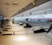 picture of bowling ball  - bowlers at a bowling alley - JPG