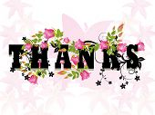 picture of thank you card  - pink blossom pattern background with decorated heart - JPG