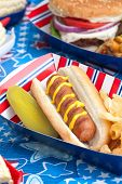 foto of hot dog  - Hot dogs corn and burgers on 4th of July picnic in patriotic theme - JPG