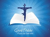 stock photo of inri  - blue rays background with bible in jesus on cross - JPG