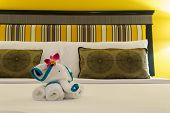 Close Up, Towels Are Folded Into Elephants Shape For Bathroom Accessories Preparation On The Bed In poster
