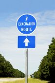 foto of disaster preparedness  - A highway sign marking Hurricane Evacuation Route - JPG
