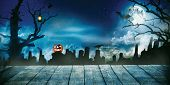 Spooky halloween background with empty wooden planks, dark horror background. Celebration theme, cop poster