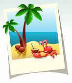 image of crab  - Cartoon summer shot of sea beach palm trees and crab with coconut cocktail - JPG