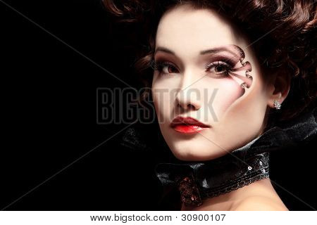 woman beautiful halloween vampire baroque aristocrat over black background