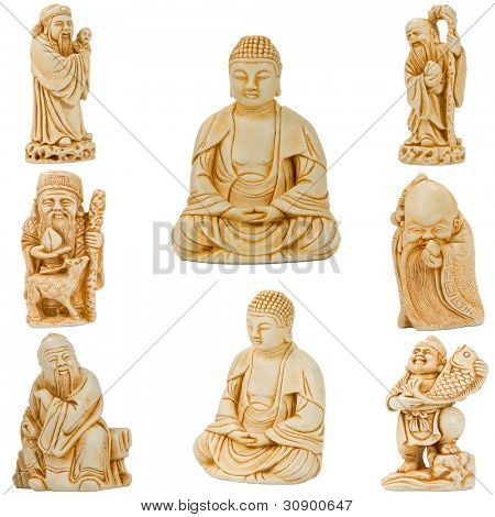 Netsuke of Buddha and other saints