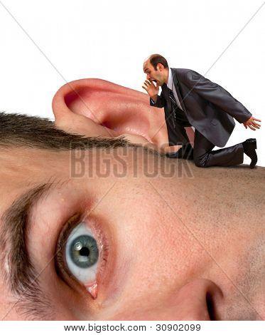 Small businessman screaming to big man ear