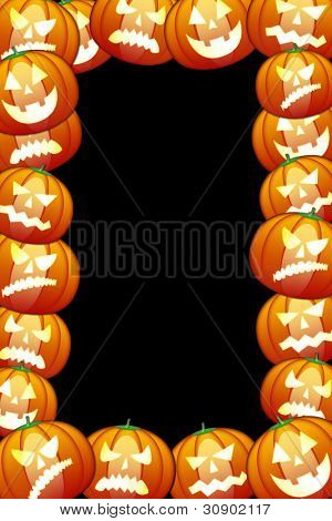 Frame of  halloween pumpkins. Isolated on black background
