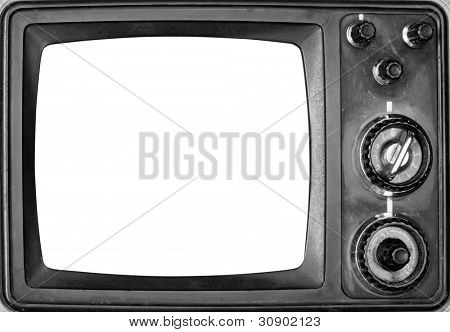 Vintage TV with isolated screen. In B/W