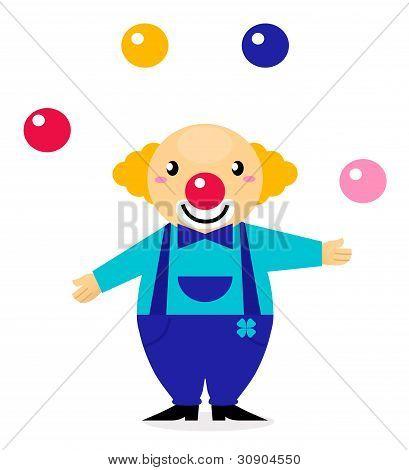 Cute Cartoon Jugglery Clown Character