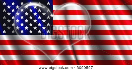 Us flag and heart