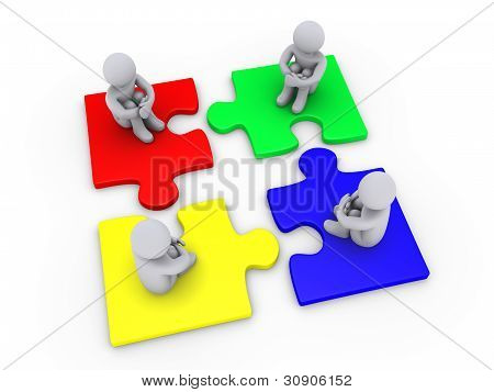 Lösung mit vier verschiedenen Puzzle-Teile