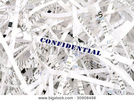 Texto confidencial rodeado de papel picado. Gran concepto para la protección de la información