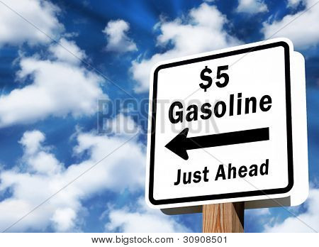 Sign showing $5 gas prices just ahead