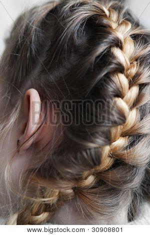Girls Hair Braided In A Pigtail