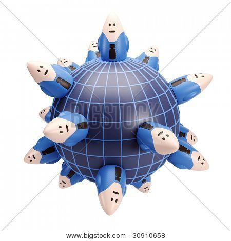concept of worlwide business, isolated 3d render