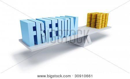 vrijheid en geld, businessconcept, 3d render
