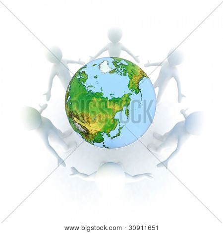 World partnership. 3d image isolated on white background.