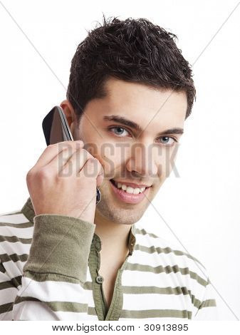 Handsome young man making a phone call, isolated on white background