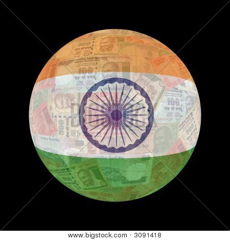 Indian Flag Currency Button