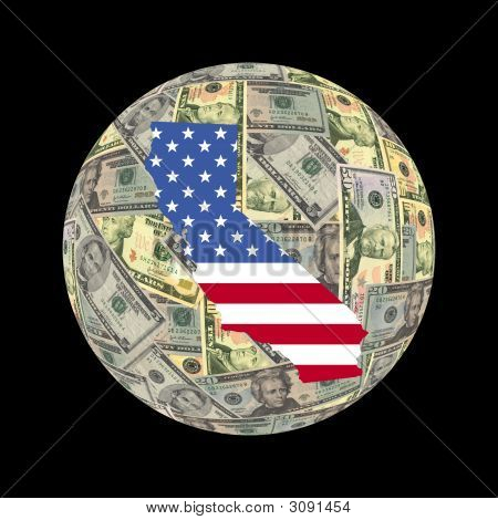 California Map Dollars Globe