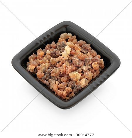 Frankincense olibanum resin in a black square dish isolated over white background.