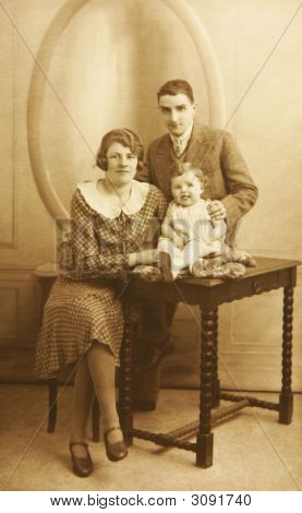 Vintage Image Of A French Family Portrait Circa 1930