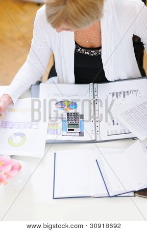 Closeup On Business Woman Working At Office Table