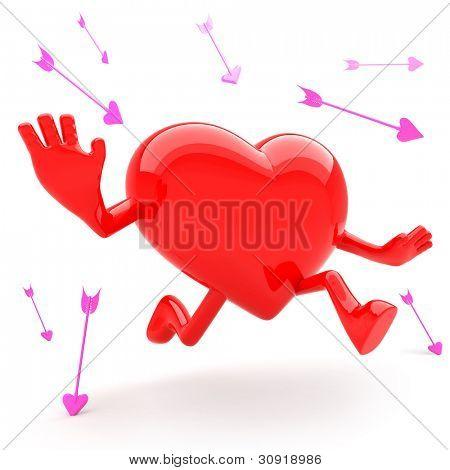 Heart shaped mascot runaway and avoid arrow