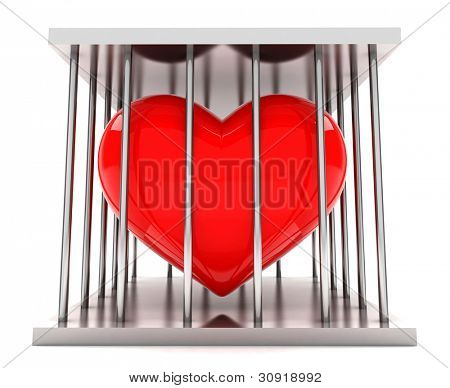 Red heart shape in a  iron prison