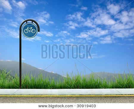 this is bicycle sign and  blue sky