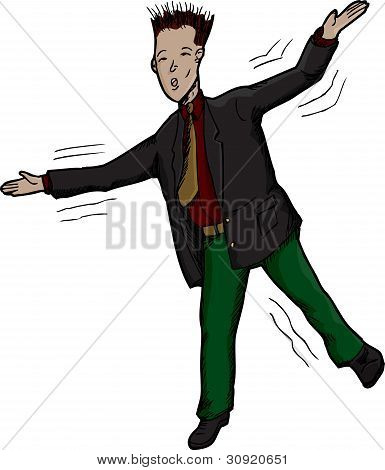 Businessman Losing Balance