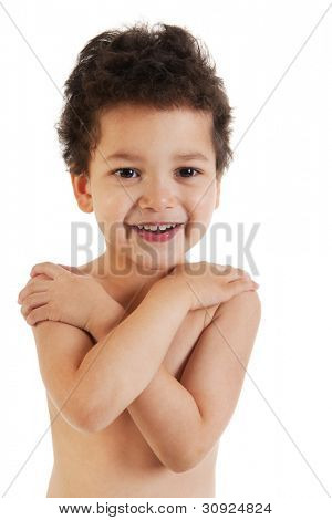 Little toddler with naked shouders isolated over white background