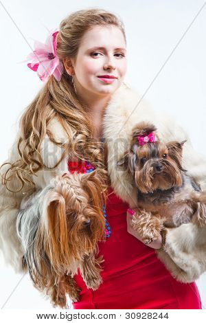 Girl  In Red With Two Yorkshire Terriers On White