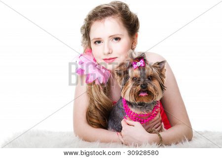 Girl  In Red With Yorkshire Terrier On Isolated White