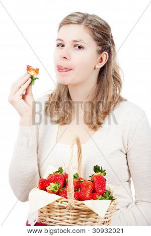 Woman Eating Fresh Strawberries