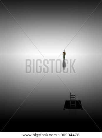 Man climbs into white space